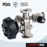 Type manuel sanitaire d'acier inoxydable soupape à diaphragme avec le drain (JN-DV1002)