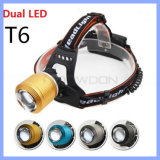 2 CREE T6 White und Blue LED Rechargeable 18650 Zoomable 2000lm 4 Mode Bike Hunting Headlamp
