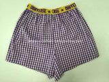 Sous-vêtements tissés du boxeur de type de vérification des hommes neufs de coton