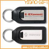 Couro feito sob encomenda Keychain do carro com metal (YB-LK-08)
