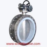 PFA Full Lining Double Flanged Butterfly Valve con l'iso Approved (D41F-10/16) del Ce