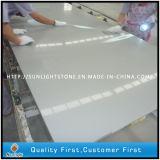 Revestimento de mármore de superfície contínuo artificial branco da cozinha da pedra de quartzo de Calacatta