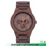 OEMの多機能の黒檀は自然な木の腕時計を見る
