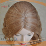 Peruca elegante amarrada da base do laço da pele do cabelo humano mão cheia superior loura
