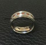 Ringen van het Titanium van het Roestvrij staal van de Steen Zircon van de manier de Rode (TR1823)