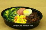 Contenitore di alimento di plastica a gettare di figura 2-Compartment della preparazione ovale del pasto