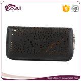 Carpeta de RFID de las mujeres negras, carpeta de cuero del embrague de la PU, carpeta del cierre relámpago