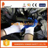Gants bleus Dnl106 de gants de latex de gants en nylon blancs de sûreté