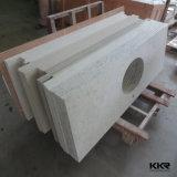 O molde fêz partes superiores de pedra de superfície contínuas acrílicas da vaidade do banheiro