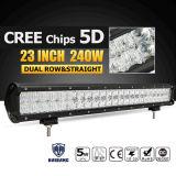 240W 23 pulgadas LED Light Bar 5D Cree fichas Combo campo a través del LED del trabajo de barra de la lámpara de conducción de camiones 12V 24V SUV 4X4 4WD ATV