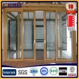 Porta deslizante da Alu-Madeira com construído em cortinas automáticas ou do manual