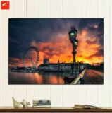 Sonnenuntergang-Ölgemälde auf Segeltuch mit Rahmen