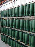 Ботинки дождя PVC высокого качества (черноватая зеленая верхняя/желтый цвет)