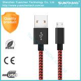 O mais rapidamente cabo de alumínio de nylon trançado do USB do carregador dos dados de 1m para o telefone de Samsung
