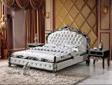 Base italiana do couro genuíno da mobília do quarto da madeira contínua do estilo