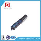 Molino de extremo sólido nano azul del carburo de 4 flautas para el metal del corte