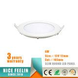 La luz del panel delgada ahuecada fábrica del redondo 6W LED de China con el Ce RoHS aprobó