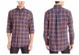 Chemises de plaid en bonne santé de long classique de chemise de la robe des hommes