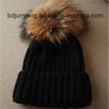 毛皮のポンポンの卸売が付いている編まれた冬の帽子