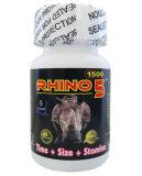 Rinoceros 5 van de Versterker van de Prestaties van de Pillen van de Verhoging van het Libido van de Versterker van het platina 1500mg Seksuele Mannelijke