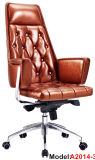 Cadeira ajustável de couro de madeira ergonómica da saliência do escritório executivo (A2013-1)