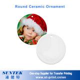 '' blanc en céramique de sublimation d'ornement de Bell de Noël 3
