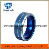 Anillo plateado azul del tungsteno del hombre de la joyería de Shineme