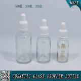 casquillo plástico del cuentagotas de la prueba del niño de la botella de cristal transparente del cuentagotas de 50ml 30ml 20ml