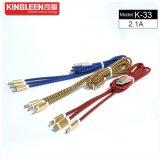 Type-c/micro modèles de câble de caractéristiques K-33 de Kingleen/pour l'iPhone 3 dans 1 2.1A sorti