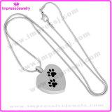 Preiswerte Stahlverbrennung-hängende Halskette für Aschen-Andenken-Halter mit der Tatze auf (IJD8445)