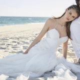 Type neuf A - ligne robe Wedding plissée de destination de courroies de spaghetti