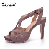 (Donna-in) sandali del bicchiere di vino delle donne dell'alto tallone della piattaforma della pelle scamosciata del capretto di modo