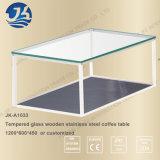 Самомоднейшая таблица чая двойного слоя стеклянная деревянная для живущий комнаты или офиса Jk-A1033