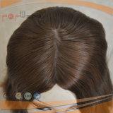 Peluca superior de seda de calidad superior de las mujeres del grado de la calidad del color castaño principal completo de gama alta superior de la Virgen