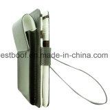 Caisse blanche de téléphone de pochette en cuir d'unité centrale