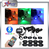 Lumière tous terrains de roche de Bluetooth de couleur du nécessaire RVB de lumière de roche de 4 cosses DEL de contrôle de l'instantané changeable DEL de musique