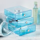 Tiroirs acryliques de renivellement du bleu 3 transparents