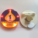 즐거운 성탄 로고를 가진 둥근 LED 깜박거린 단추 Pin는 인쇄했다 (3569)