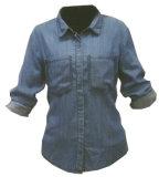 女性の100%年の綿のデニムの長い袖のワイシャツWh1008