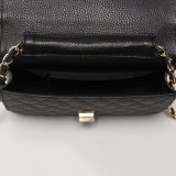 Black PU Gemotric Pattern Metal Buckle Shoulder Bag (A021)