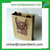 Bolsa de papel de encargo de Brown Kraft del bajo costo con la impresión de la insignia