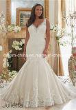 Morilee plus Größen-Qualitäts-elegante Spitze-wulstiges Nixe-Trompete-Hochzeits-Kleid (Dream-100082)