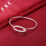 Braccialetto ovale del braccialetto di Zirconia cubico del rame placcato dell'argento