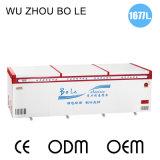 Congelador dobro da caixa da grande capacidade dos compressores com rodízios universais