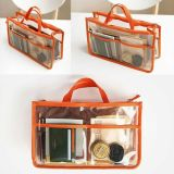 OEM Clear PVC Plastic Travel Cosmetic Zipper Bag com bolso