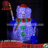 Bonhomme de neige en plastique acrylique en métal de lumière de motif de Noël imperméable à l'eau en gros de DEL 3D pour extérieur