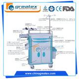 중국 싼 아BS 플라스틱 실용적인 손수레 Lockable 바퀴를 가진 의학 트롤리 3개의 층