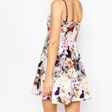 Платье вечера сублимации способа красивейшее флористическое с V-Ввергает шею
