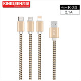 Model k-33 de Kabel type-C van Gegevens/Micro van Kingleen/voor iPhone 3 in 1 Output 2.1A