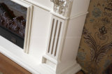 Europäische weiße Holz Fernsehapparat-Standplatz-Heizungs-elektrischer Kamin (328S)